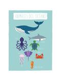 Druck mit Tieren des Ozeans in Spanisch Kunstdruck von Rebecca Lane