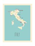 Mappa blu - Italia Stampe di Rebecca Lane