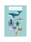 Druck mit Tieren des Ozeans Kunstdrucke von Rebecca Lane
