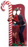 Ugly Christmas Sweater w/ Candy Cane Stand-in Cardboard Cutouts