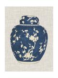 Blue & White Ginger Jar on Linen I Poster by Vision Studio