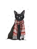 Black Cat, Red Scarf Láminas por  Fab Funky