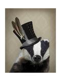 Steampunk Badger in Top Hat Lámina giclée prémium por  Fab Funky