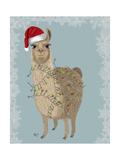 Llama, Christmas Lights 2 Giclée-Premiumdruck von  Fab Funky