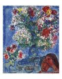 Les Amoureux et Fleurs, 1964 高品質プリント : マルク・シャガール