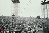 Woodstock- Crowd with Scaffolding (Black and White) Poster