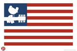 Woodstock- Love Dove Logo American Flag キャンバスプリント