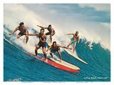 Surfing Waikiki - Honolulu, Hawaii Posters by  Unknown