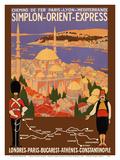 Simplon Orient-Express - London to Constantinople - Paris-Lyon-MterranRailway (PLM) Kunst von Roger Broders