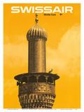Middle East - Mosque Minaret - Swissair Kunstdruck von Manfred Bingler