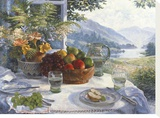 Fruit in an Olive Wood Bowl Stretched Canvas Print by Stephen Darbishire