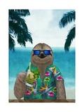 Sloth on Summer Holidays Lámina por  Barruf