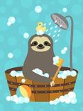 Bathing Sloth Láminas por Nancy Lee