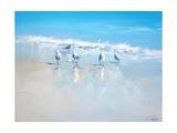 Les goélands de Sorrento (Poster, Art, Marine, Oiseaux, Plage, Italie, Mer, Bleu) Poster par Craig Trewin Penny
