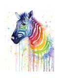 Rainbow Zebra Giclée-Premiumdruck von Olga Shvartsur