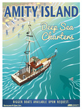 Jaws - Amity Island Deep Sea Charters Vintage Travel Lithograph Plakater