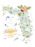 American State - Florida Reproduction procédé giclée par Clara Wells