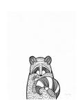 Forest Friends II Black and White Raccoon Pósters por Elyse DeNeige