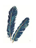 Gold Feathers IV Indigo Crop Print by Chris Paschke