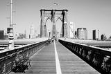 Bench on a bridge, Brooklyn Bridge, Manhattan, New York City, New York State, USA Photographic Print
