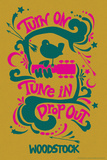 Woodstock - Turn On, Tune In, Drop Out (Yellow) Affiches