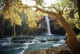 Scenic View of a Waterfall on Havasu Creek Vægplakat af W.E. Garrett