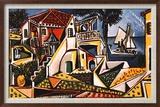 Paysage méditerranéen Reproduction encadrée par Pablo Picasso