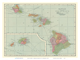 Map of Hawaii - Hawaiian Islands Plakat av C.S. Hammond