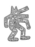 Hond, 1985 Gicléedruk van Keith Haring