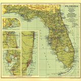 1930 Florida Map Vægplakat, stor af  National Geographic Maps