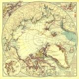 1907 North Pole Regions Map Fototapete von  National Geographic Maps