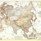 1951 Asia and Adjacent Areas Map Vægplakat, stor af  National Geographic Maps