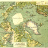 1925 Arctic Regions Map Iso seinämaalaus tekijänä  National Geographic Maps