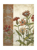 Red Antique Floral II Premium Giclee Print by Megan Meagher