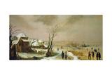 Winter Landscape, 17th century Lámina giclée por Adam Van Breen