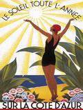 Sur la Cote D'Azur Giclee-trykk av Roger Broders