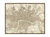 Sepia Map of London Print by  Vision Studio