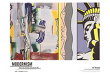 Painting with Statue of Liberty Poster av Roy Lichtenstein