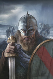 A Scandinavian Warrior Chief from the Late 10th Century Ready For Battle Stretched Canvas Print by Fernando G. Baptista