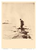Lone Fisherman (Lawaia) Hawaii - from Etchings and Drawings of Hawaiians Poster di John Melville Kelly