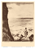 Moi Water Hawaii - Throw Net Fisherman - from Etchings and Drawings of Hawaiians Poster di John Melville Kelly