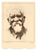 Old Kalama, Hawaii - Native Hawaiian Man - from Etchings and Drawings of Hawaiians Poster di John Melville Kelly