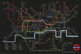 Transport For London - Black Map Kunstdruck