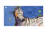 Zebra Blue Poster by Kellie Day