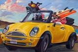 Sunup Surfdogs Art par Connie R. Townsend