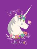 Believe in Unicorns on Purple Giclée-Premiumdruck von Heather Rosas