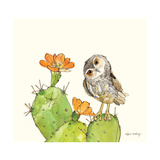 Prickly Pear and Elf Owl Affiches par Robbin Rawlings