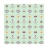 Mint Evil Eyes Pattern Giclee Print by Cat Coquillette