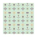 Mint Evil Eyes Pattern Giclee Print