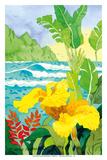 Yellow Canna with Waves - Tropical Paradise Hawaii - Hawaiian Islands Plakat av Robin Wethe Altman